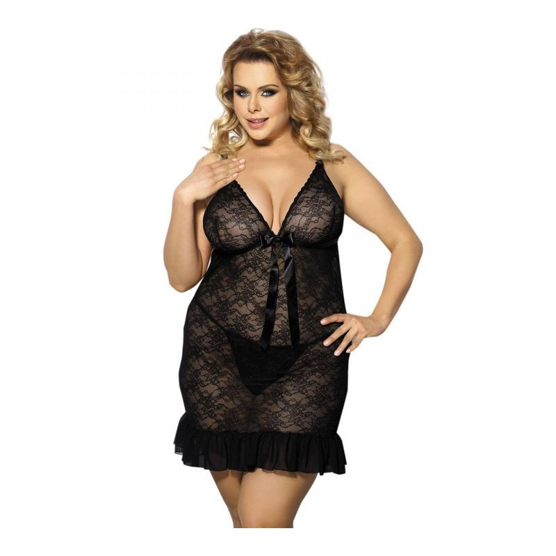 nuisette en dentelle florale et string assorti evona anais apparel grande taille du l au 6xl. Black Bedroom Furniture Sets. Home Design Ideas