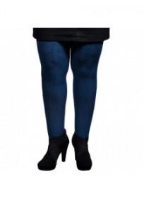 Collant grande taille - collant opaque 80 deniers avec strass devant bleu vert (face)