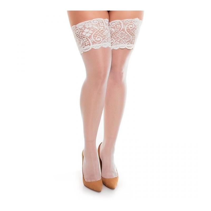 Bas grande taille - bas autofixant coloris blanc glamory comfort 20
