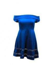 "robe grande taille - robe de cocktail style bardot ""studio"" Lili London coloris bleu (face)"
