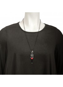 collier fantaisie grande taille - collier pepette Maelys coloris noir lol bijoux (porté)