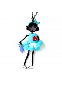collier fantaisie grande taille - collier pepette Colette coloris bleu lol bijoux