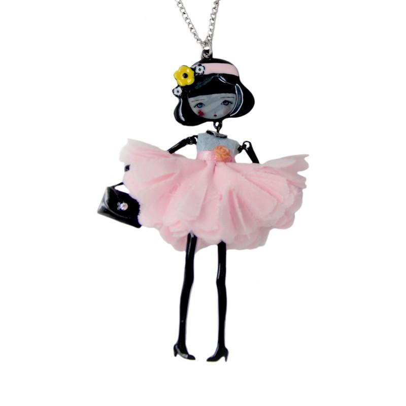 """collier fantaisie grande taille - collier pepette Dorothée coloris rose """"les pepettes"""" Lol bijoux"""