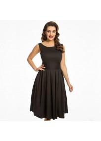 """Robe grande taille - robe noire vintage """"Lana"""" de la marque Lindy bop (face)"""