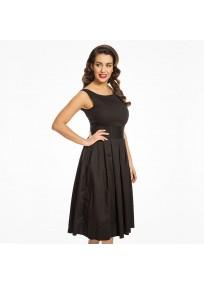 "Robe grande taille - robe noire vintage ""Lana"" de la marque Lindy bop (côté)"