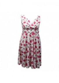 robe grande taille - robe vintage imprimé fleurs roses sur fond blanc cassé (face)
