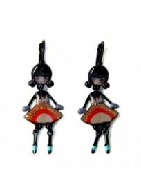"""boucles d'oreilles fantaisie - Dormeuses Mailys coloris marron """"les pepettes"""" Lol bijoux 15PCP22E"""
