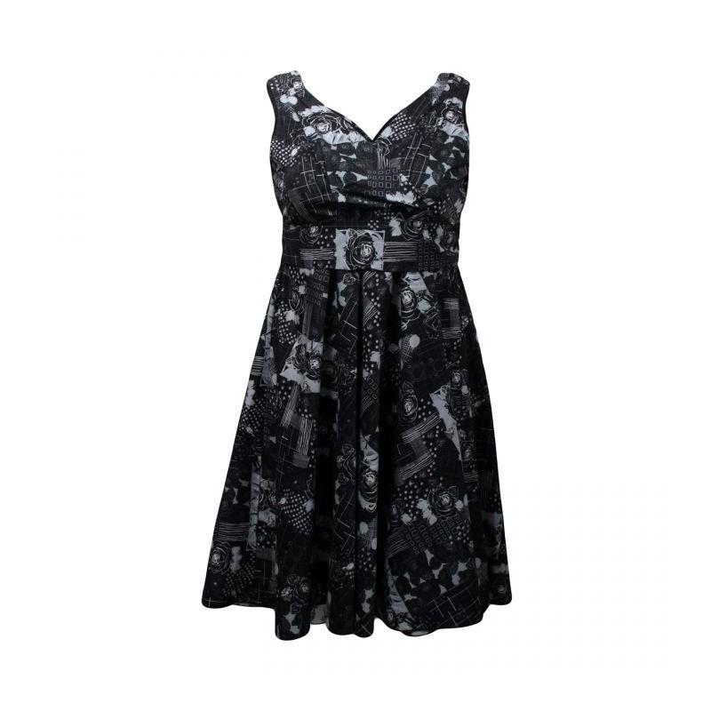 robe vintage noire et blanche avec motif fleuri looking glam du 48 au 56. Black Bedroom Furniture Sets. Home Design Ideas
