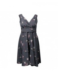 Robe grande taille - robe grise rockabilly motif oiseaux Looking glam (face)