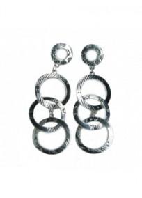 Boucles d'oreilles fantaisie - boucles d'oreilles argentées aux 3 cercles entremêlés