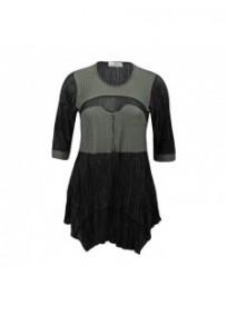 robe grande taille - robe plissée bicolore 2W coloris noir et kaki (face)