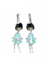 """Boucles d'oreilles fantaisie - dormeuses Heloise """"les pepettes"""" lol bijoux bleu clair"""