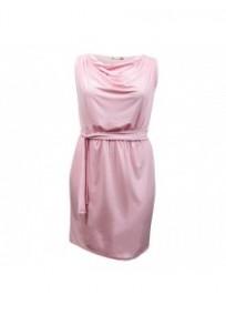 "robe grande taille - robe courte rose col bénitier avec ceinture ""Kathleen"" Lili London (face)"