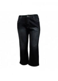 pantalon grande taille - pantacourt en jeans bleu noir nana belle (face)