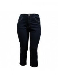 pantalon grande taille - pantacourt bleu jeans avec surpiqûres dorées NanaBelle (face)