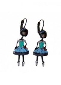 boucles d'oreilles fantasie - dormeuses émaillées bleues les pepettes Patricia lol bijoux