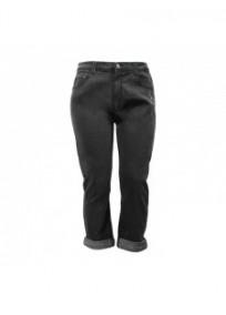 pantalon grande taille - jeans noir à revers strass Nana Belle (face)